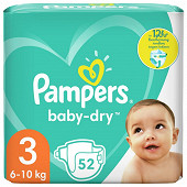 Pampers baby dry langes geant 52ct