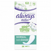 Always dailies extra protect protège-slips coton bio normal x28