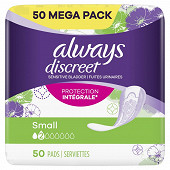 Always discreet serviettes pour fuites urinaires taille 2 small 50ct