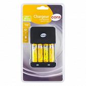Cora chargeur compact + 4 piles rechargeables AA 2050 mAh 1.2V déjà chargées