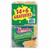 Gratte-eponges stop bacteries 14+6 offertes