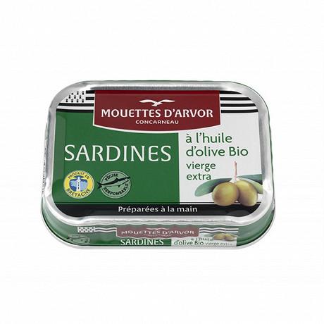 Les mouettes d'Arvor sardines à l'huile d'olive vierge extra bio 115g