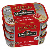 Connetable lot 3x1/5 sardines à l'huile d'olive et aux 5 baies 135g