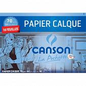 Canson pochette papier calque 16 feuilles a4 70 grammes avec pastilles adhésives