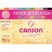 Canson - Pochette 12 feuilles création a4 150 grammes  couleurs vives