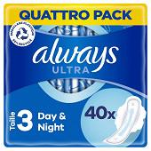 Always ultra serviettes hygieniques ailettes taille 3 nuit 40ct