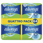 Always ultra serviettes hygieniques taille 1 normal 64ct
