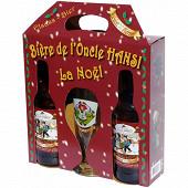 Coffret Bière de Noël de l'Oncle Hansi + 1 verre 6% Vol.2x50cl