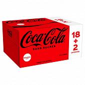 Coca-cola sans sucres boite 20x33cl sleek 18+2 boites offertes