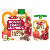 Materne sans sucres ajoutés pomme fraise grenade céréales et graines 4x90g