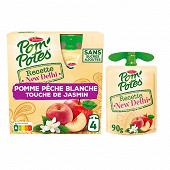Pom'potes new delhi pommes pêche blanche touche de jasmin 4x90g