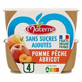 Materne sans sucre ajouté pomme pêche abricot 4x100g