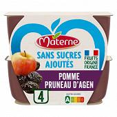 Materne sans sucres ajoutés coupelles pomme pruneau 4x100g