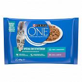 PURINA ONE Chat d'Intérieur Sachets fraîcheur pour chats adultes au Thon et au Veau - 4 x 85 g