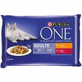 PURINA ONE Sachets fraîcheur pour chats adultes Poulet, B?uf - 4 x 85 g