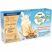 Nestlé naturnes bio briques lait prêtes à l'emploi saveur multicéréales 3x25cl