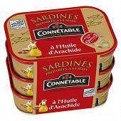 Connetable lot de 3x1/5 sardines à l'huile d'arachide 135g