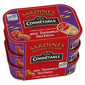 Connetable lot de 3x1/5 sardines à l'huile d'olive aux tomates séchées 135g