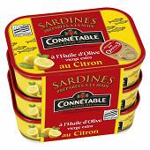 Connetable lot de 3x1/5 sardines à l'huile d'ollive vierge extra et au citron 135g