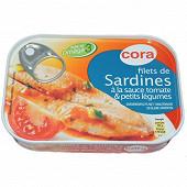 Cora filets de sardines tomate et petits légumes 100g