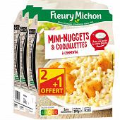Fleury Michon mini nuggets de poulet & coquillettes 3x280g lot 2+1 offert