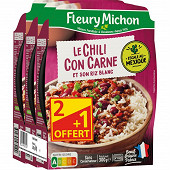 Fleury Michon chili con carne riz blanc 3x300g lot 2+1 offert