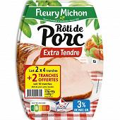 Fleury Michon rôti de porc lot 2x4 tranches + 2 offertes 400g