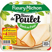 Fleury michon blanc de poulet doré au four 2 x 6 tranches + 4 offertes 480g