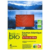 Nature Bio Saumon d'élevage fumé bio 4 tranches 130g