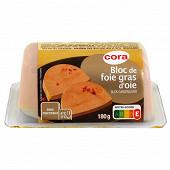 Cora bloc de foie gras d'oie avec morceaux barquette 180g