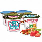 Les 2 Vaches yaourts brassés fraise rhubarbe 4x115g