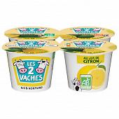 Les 2 Vaches yaourt brassé au jus de citron 4x115g