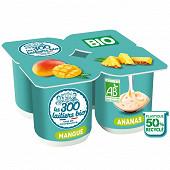 Les 300 & bio yaourt brassé bio 4x125g panaché 2 mangue + 2 ananas