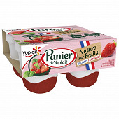 Panier de Yoplait nature sur fruits récoltes françaises 1 4x140g