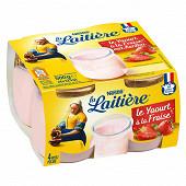La Laitière Yaourt au lait entier fraise 4x125g