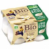 La Laitière pot verre vanille bio éco 4x120g