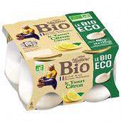 La Laitière pot verre citron bio éco 4x120g
