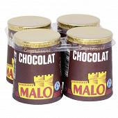 Malo lait pasteurisé emprésure sucré au chocolat 4x125g