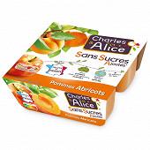 Charles & Alice spécialité de pommes abricots bergeron 4x100g sans sucres ajoutés