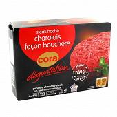 Cora dégustation steaks hachés Charolais façon bouchére 15% MG 4x180g