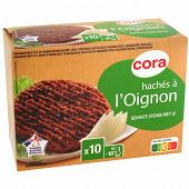 Cora 10 steaks hachés oignons vbf 15%mg 1kg