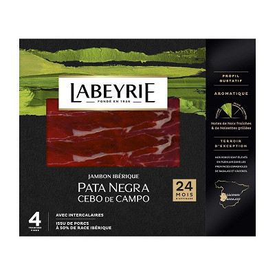 Labeyrie Labeyrie jambon pata negra grande tradition 24 mois d'affinage 4tranches 60g