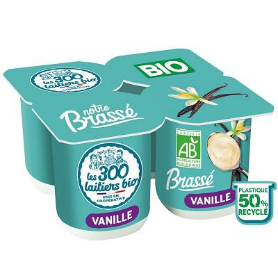 Les 300 & Bio Les 300 & Bio yaourt brassé bio vanille 4x125g