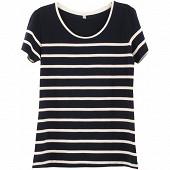 Tee shirt manches courtes rayé femme MARINE/BLANC T50\52