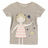 Tee shirt manches courtes fille GRIS CHINE 14 ANS
