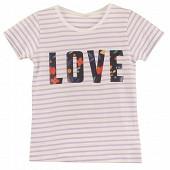 Tee shirt manches courtes fille BLANC/ PARME 12 ANS