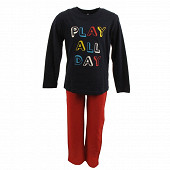 Pyjama long manches longues MARINE/ROUGE 8ANS