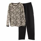 Pyjama long coral fleece manches longues junior garçon GRIS CAMOUFLAGE S