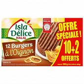 Isla Délice burgers à l'oignon halal 10+2 offerts 960g